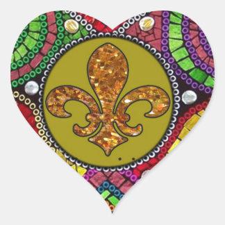 抽象的な(紋章の)フラ・ダ・リのタイルのモザイクカラフル ハートシール