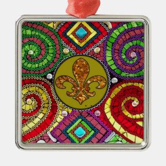抽象的な(紋章の)フラ・ダ・リのタイルのモザイクカラフル メタルオーナメント