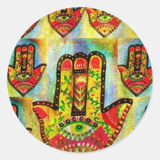 抽象的なHamsa手の芸術 丸形シールステッカー