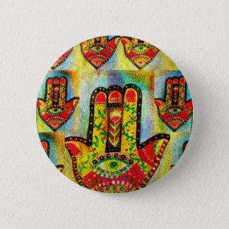 抽象的なHamsa手の芸術 5.7cm 丸型バッジ