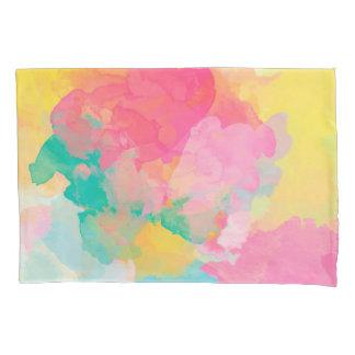 抽象的概念の水彩画のピンクの黄色および青 枕カバー