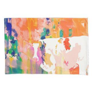 抽象的概念の牛水彩画のシルエット 枕カバー