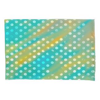 抽象的概念の芸術の青およびブラウンの白の水玉模様 枕カバー