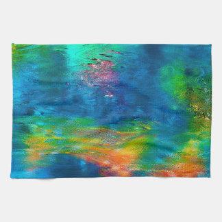 抽象的概念の芸術カラフルな水反射 キッチンタオル