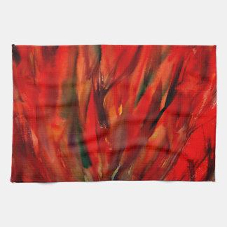 抽象的概念の赤い炎の芸術 キッチンタオル