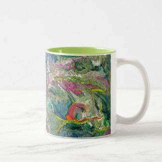 抽象的表現主義のアートな2つの調子のマグ ツートーンマグカップ