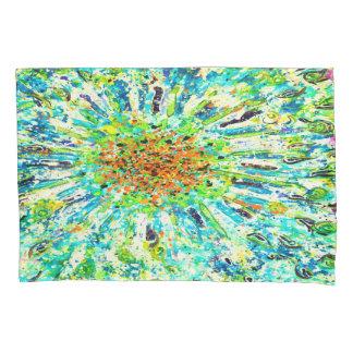 抽象美術のカラフルな緑の(ばちゃばちゃ)跳ねるの背景 枕カバー