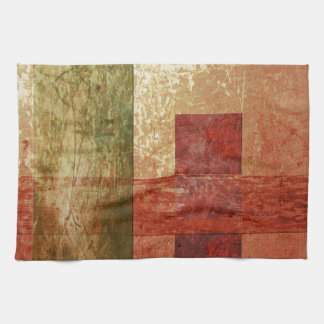 抽象美術のグランジで幾何学的で赤いオレンジ緑 キッチンタオル