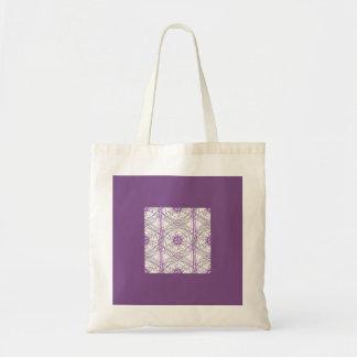 抽象美術のトートの紫色の花柄 トートバッグ
