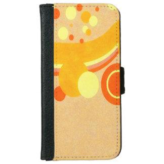 抽象美術のブラウンの背景の黄色およびオレンジ iPhone 6/6S ウォレットケース