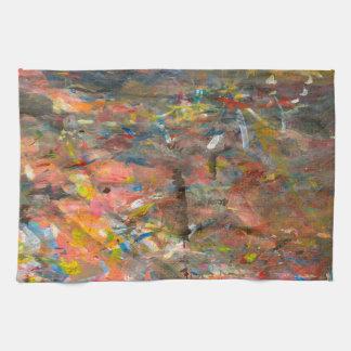 抽象美術のペンキの軽打のカラフル キッチンタオル