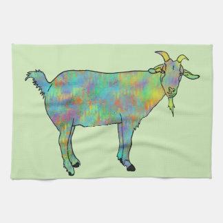 抽象美術のヤギのカラフルな動物のデザイン キッチンタオル