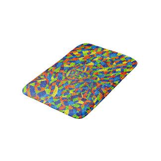 抽象美術の明るく、カラフルで点々のあるなモザイク バスマット