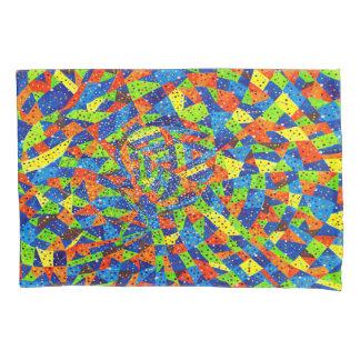 抽象美術の明るく、カラフルで点々のあるなモザイク 枕カバー