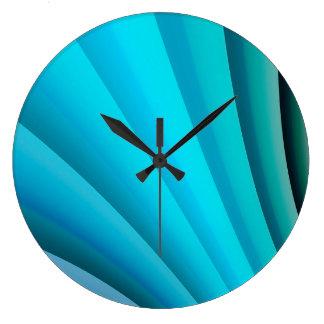 抽象美術の淡いブルーの波 ラージ壁時計