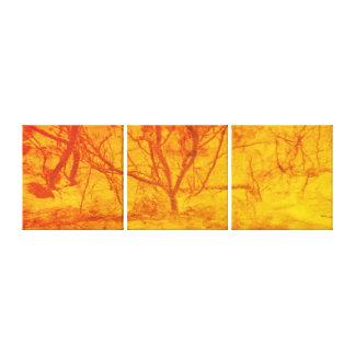 抽象美術の火の日没の木 キャンバスプリント