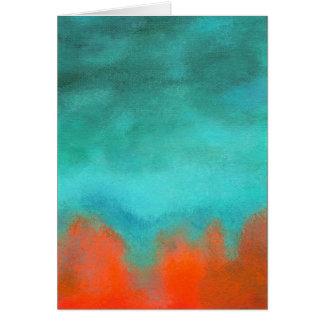 抽象美術の空の火の溶岩の赤いオレンジターコイズ カード