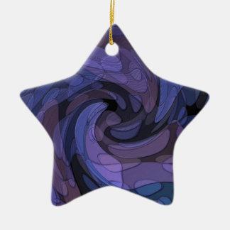抽象美術の紫色の黒く青くモダンなデザイン セラミックオーナメント