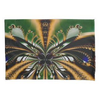 抽象美術の緑およびブラウンパターン 枕カバー