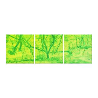 抽象美術の緑のライムの日没の木 キャンバスプリント