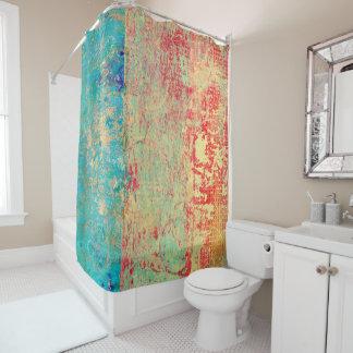 抽象美術の質の絵画のターコイズの赤い緑 シャワーカーテン
