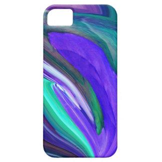 抽象美術紫色Nのティール(緑がかった色)の葉のiPhone 5の箱 iPhone SE/5/5s ケース
