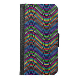 抽象美術色の装飾的な波状ライン GALAXY S6 ウォレットケース