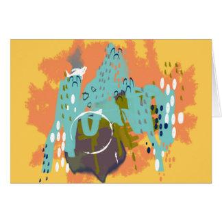 抽象美術、お洒落な建物のミントのオレンジの金ゴールド カード
