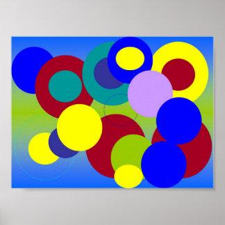 抽象美術-雲の中の円 ポスター