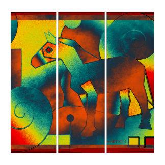 抽象美術-馬-紫系統の黄色 トリプティカ