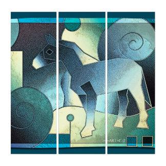 抽象美術-馬-青い砂 トリプティカ