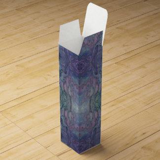 抽象芸術によって大理石模様をつけられる紫色のティール(緑がかった色)のターコイズおよび黒 ワインギフトボックス