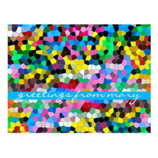 抽象芸術のステンドグラスのカラフルで青いピンクのモザイク ポストカード