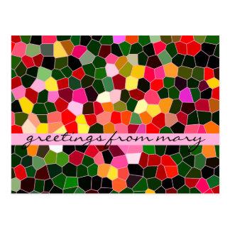 抽象芸術のステンドグラスのカラフルな緑のピンクのモザイク ポストカード