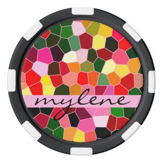 抽象芸術のステンドグラスのカラフルな緑のピンクのモザイク ポーカーチップ