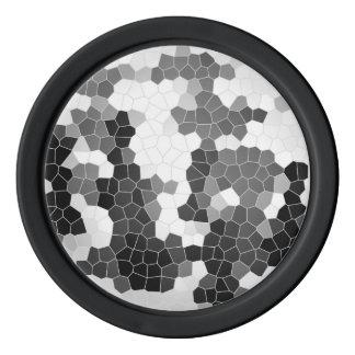 抽象芸術のステンドグラスの白黒の灰色のモザイク ポーカーチップ