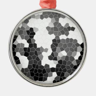 抽象芸術のステンドグラスの白黒の灰色のモザイク メタルオーナメント