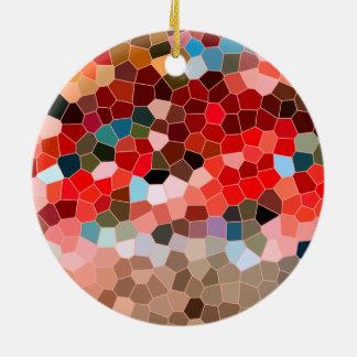 抽象芸術のステンドグラスの赤いバーガンディブラウンのモザイク セラミックオーナメント
