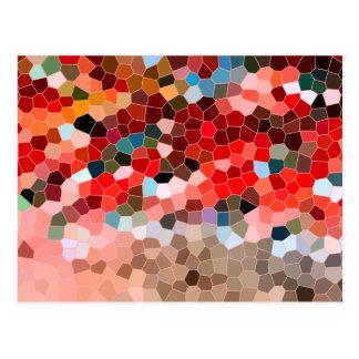 抽象芸術のステンドグラスの赤いバーガンディブラウンのモザイク ポストカード