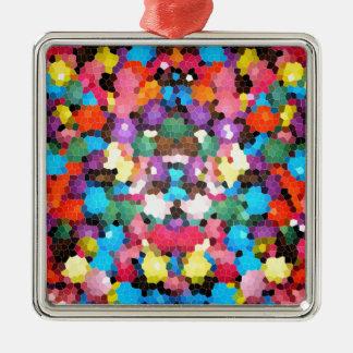 抽象芸術のステンドグラスの鮮やかな虹キャンデーのモザイク メタルオーナメント
