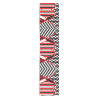 抽象芸術のストライプなドット・パターン + あなたのアイディア ショートテーブルランナー