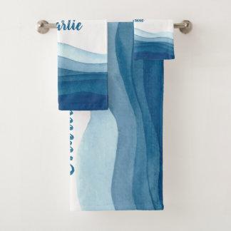 抽象芸術の波の名前をカスタムするタオルセット バスタオルセット