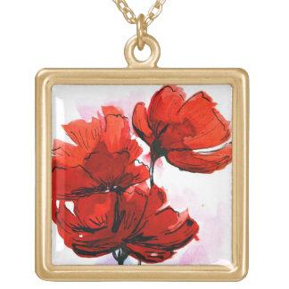 抽象芸術の色彩の鮮やかな花の背景2 ゴールドプレートネックレス