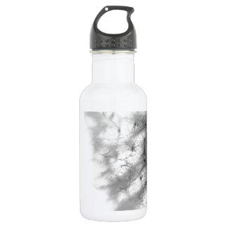 抽象芸術の花の白いタンポポの灰色 ウォーターボトル