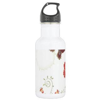 抽象芸術の花の白い夏の蝶 ウォーターボトル