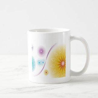 抽象芸術の花の白Soundwave コーヒーマグカップ