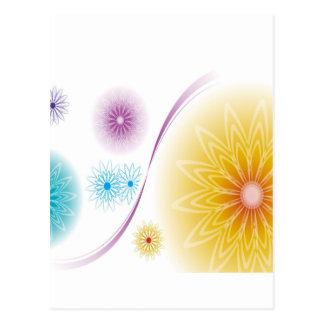 抽象芸術の花の白Soundwave ポストカード
