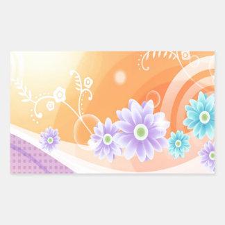 抽象芸術の花は色の夏Slpashを暖めます 長方形シール