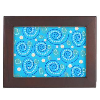 抽象芸術は青で渦巻きます ジュエリーボックス