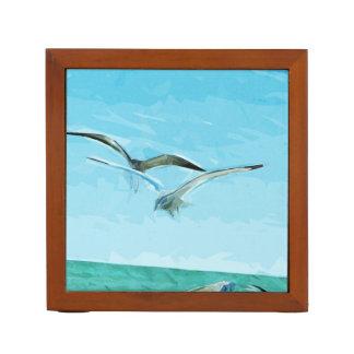 抽象芸術を飛ばしている2羽のカモメ ペンスタンド